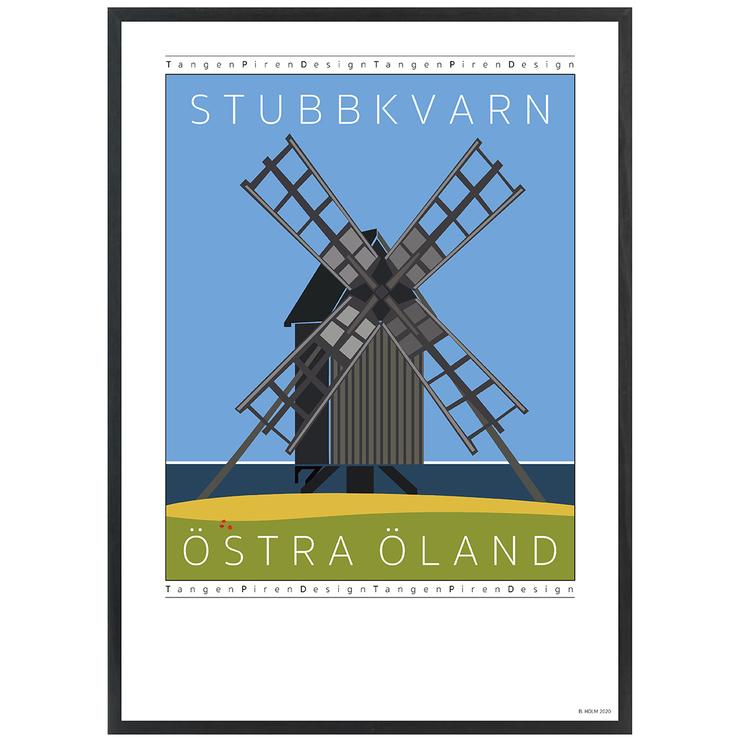 Poster Stubbkvarn Öland med svart ram