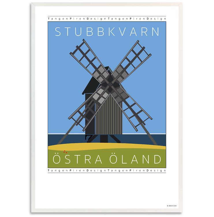 Poster Stubbkvarn Öland med vit ram