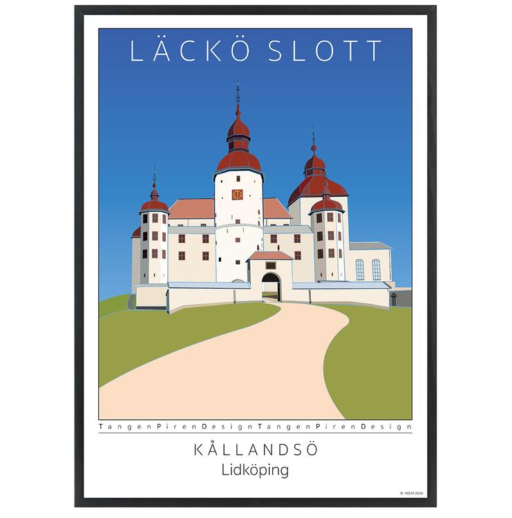 Poster Läckö Slott med svart ram