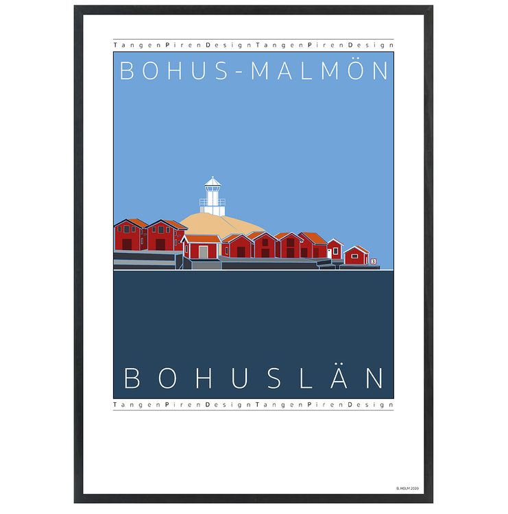 Poster Bohus-Malmön med svart ram