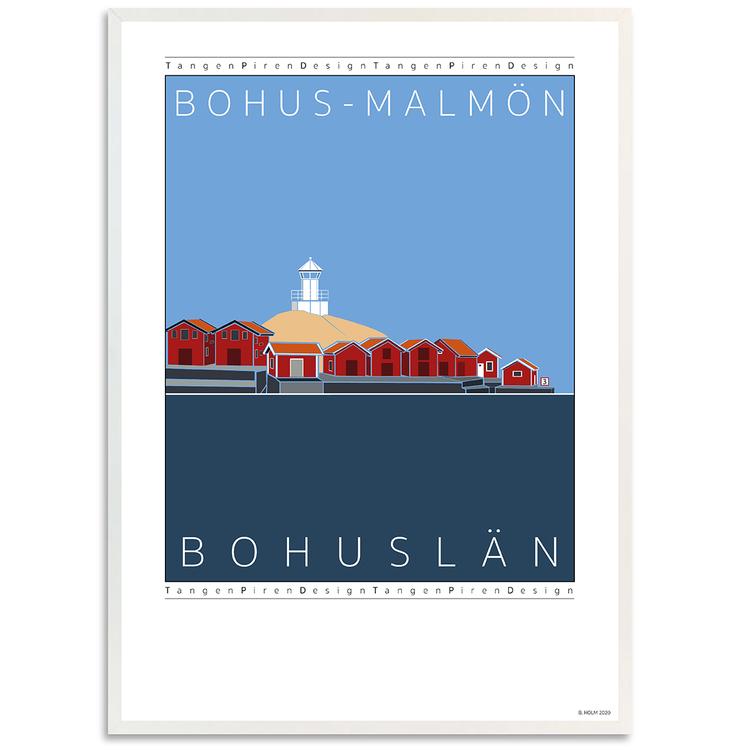 Poster Bohus-Malmön med vit ram