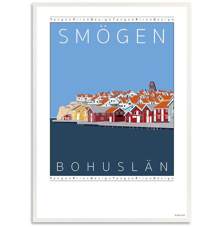 Poster Hamnen Smögen med vit ram