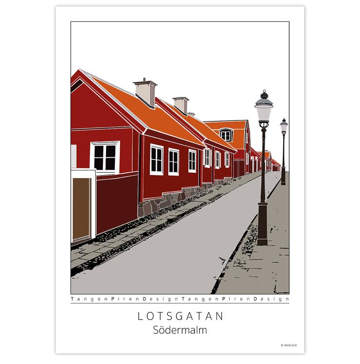 Poster Lotsgatan Södermalm utan ram 50x70