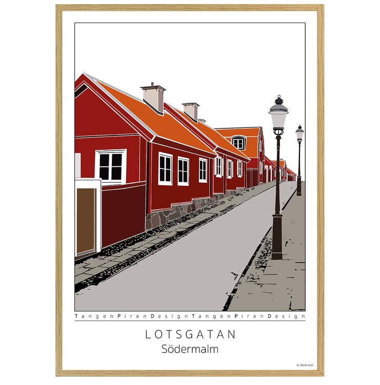 Poster Lotsgatan Södermalm med ekram 50x70