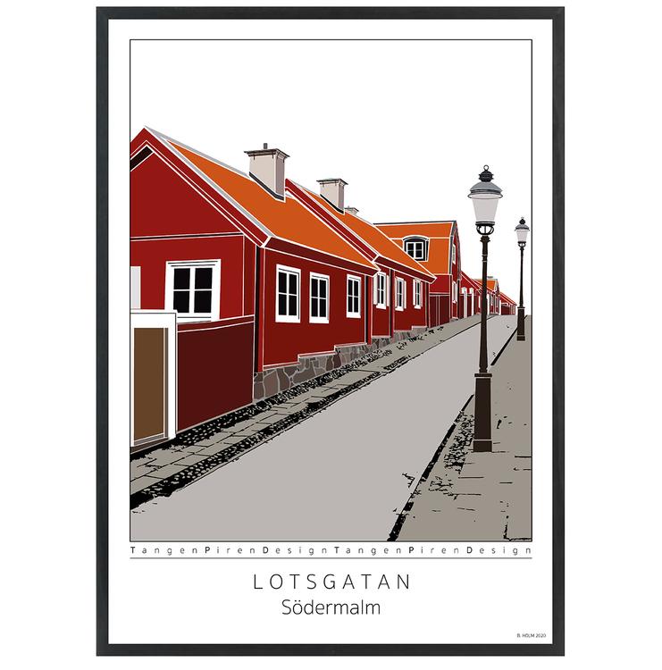Poster Lotsgatan Södermalm med svart 50x70