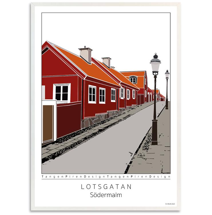 Poster Lotsgatan Södermalm med vit 50x70