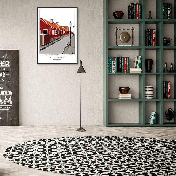 Poster Lotsgatan Södermalm interior 50x70