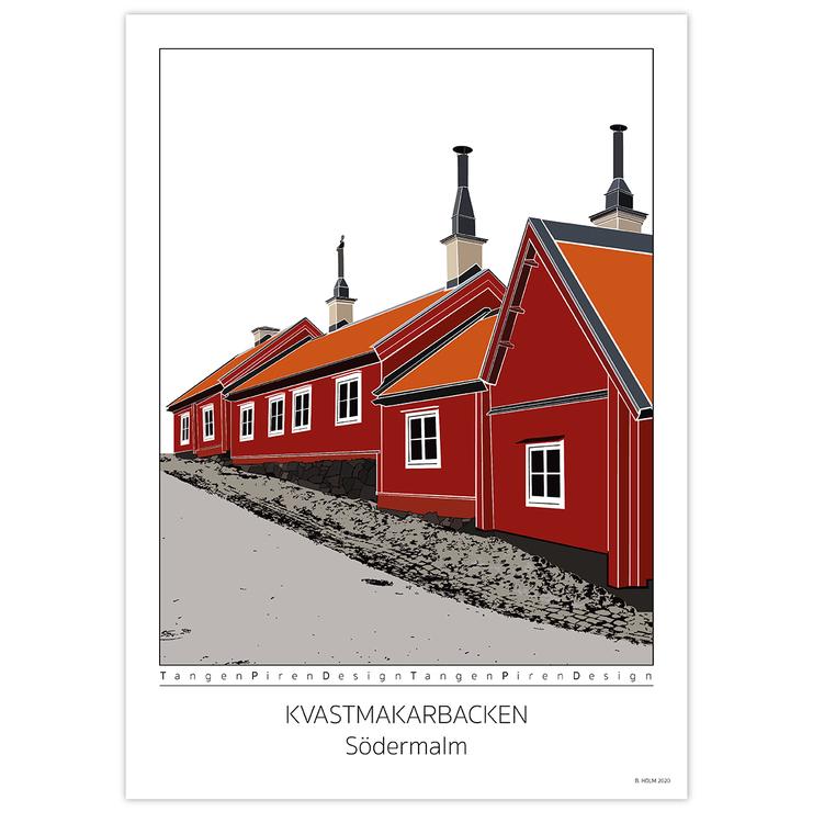 Poster Kvastmakarbacken Södermalm utan ram 50x70