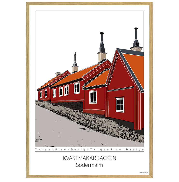 Poster Kvastmakarbacken Södermalm med ekram 50x70
