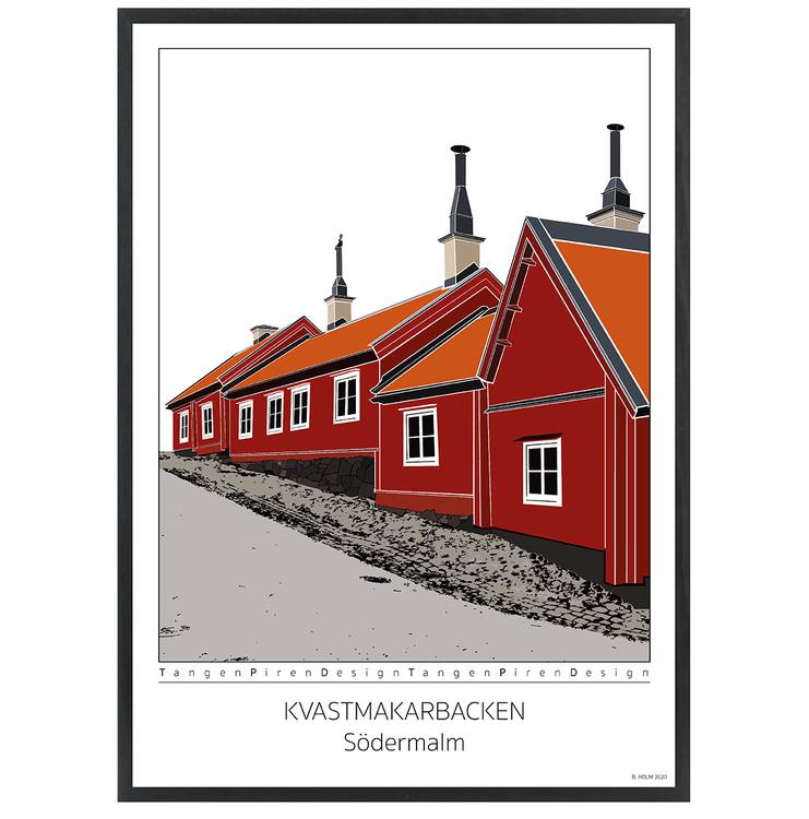 Poster Kvastmakarbacken Södermalm med svart ram 50x70