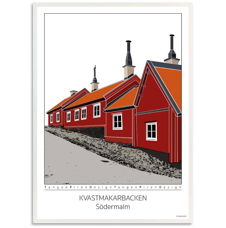 Poster Kvastmakarbacken Södermalm med vit ram 50x70