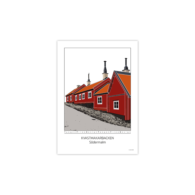 Poster Kvastmakarbacken Södermalm utan ram 30x42 cm