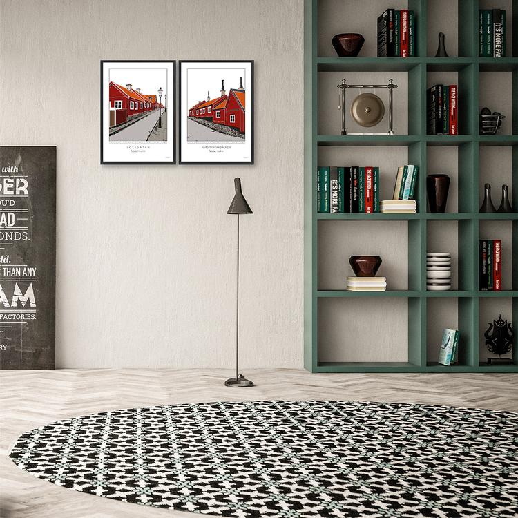 Poster Kvastmakarbacken Södermalm interiör 30x42 cm