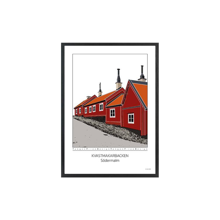 Poster Kvastmakarbacken Södermalm med svart ram 30x42 cm