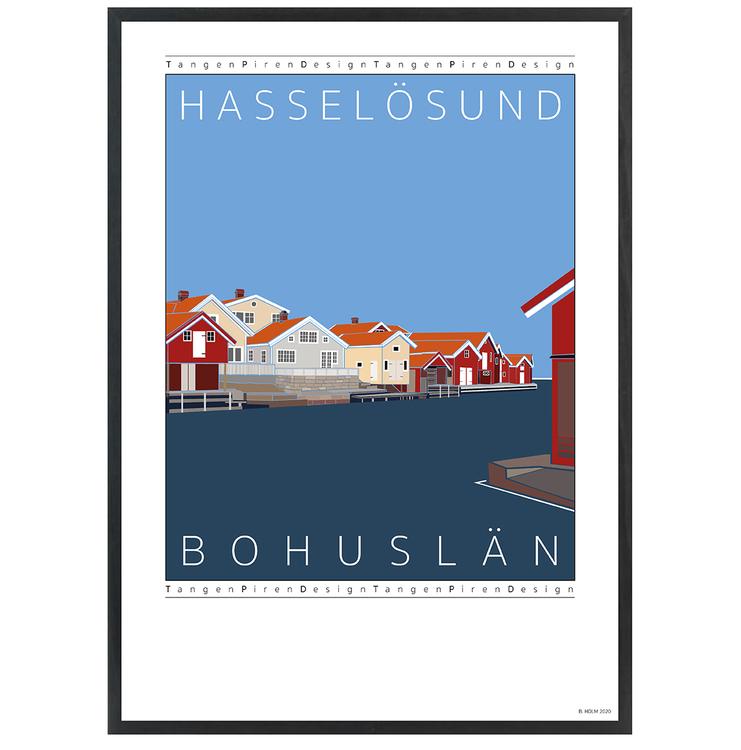 Poster Hasselösund med svart ram