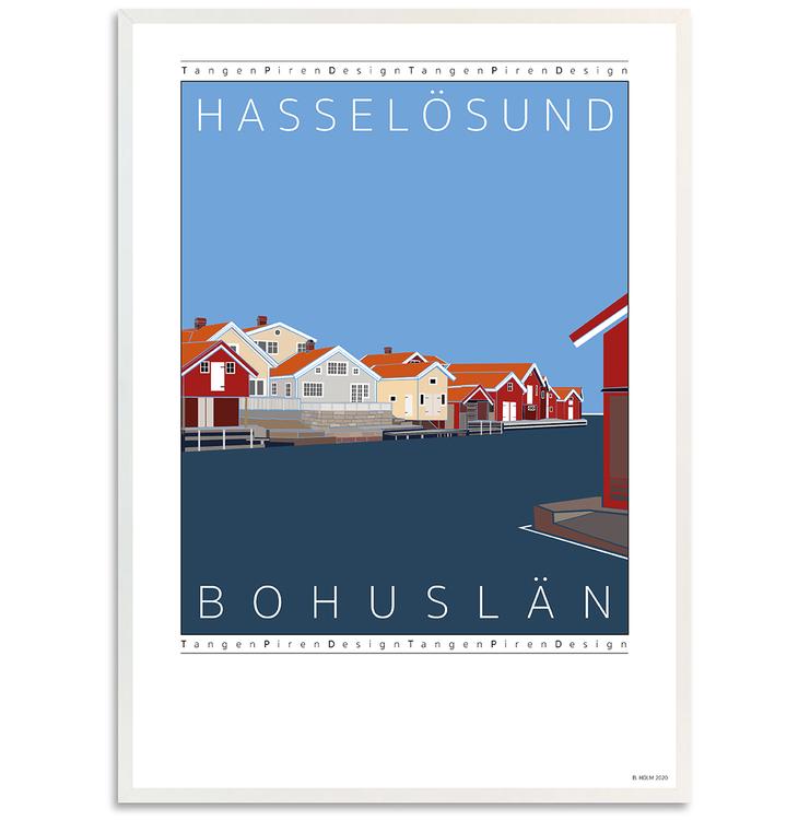 Poster Hasselösund med vit ram
