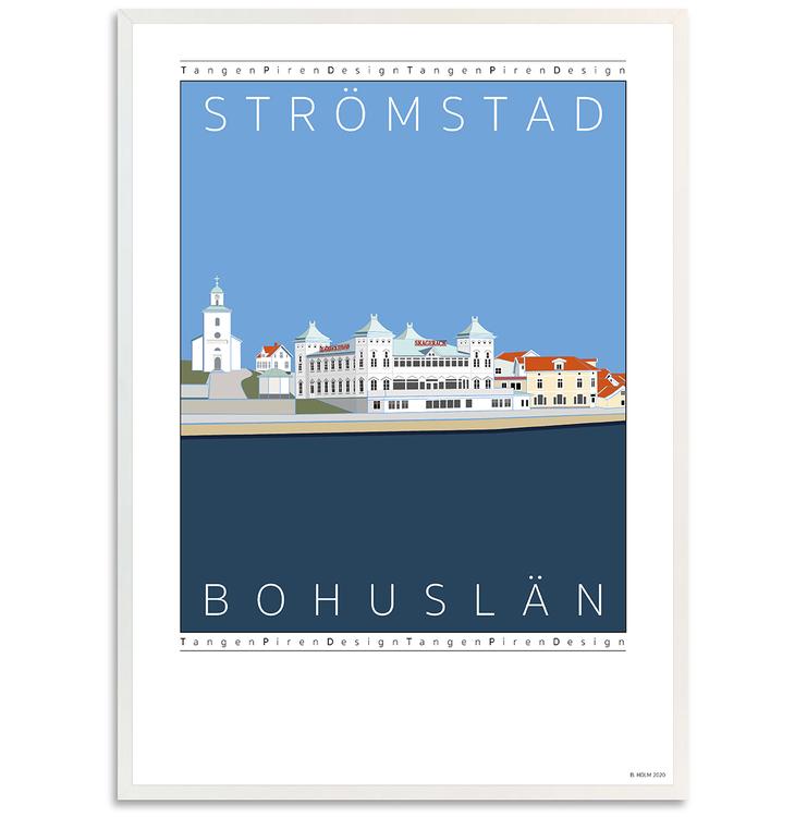 Poster Strömstads Hamn med vit ram