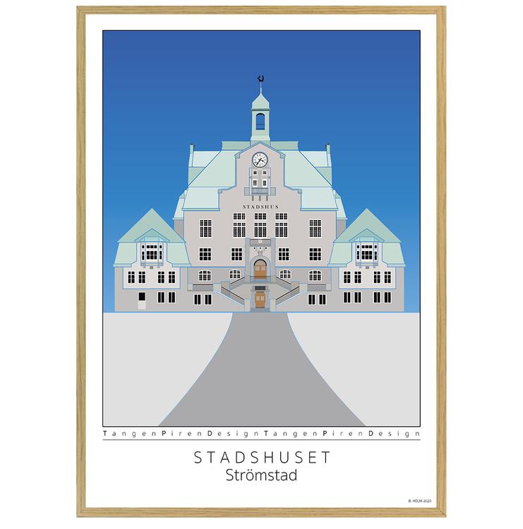 Poster Strömstads Stadshus med ekram