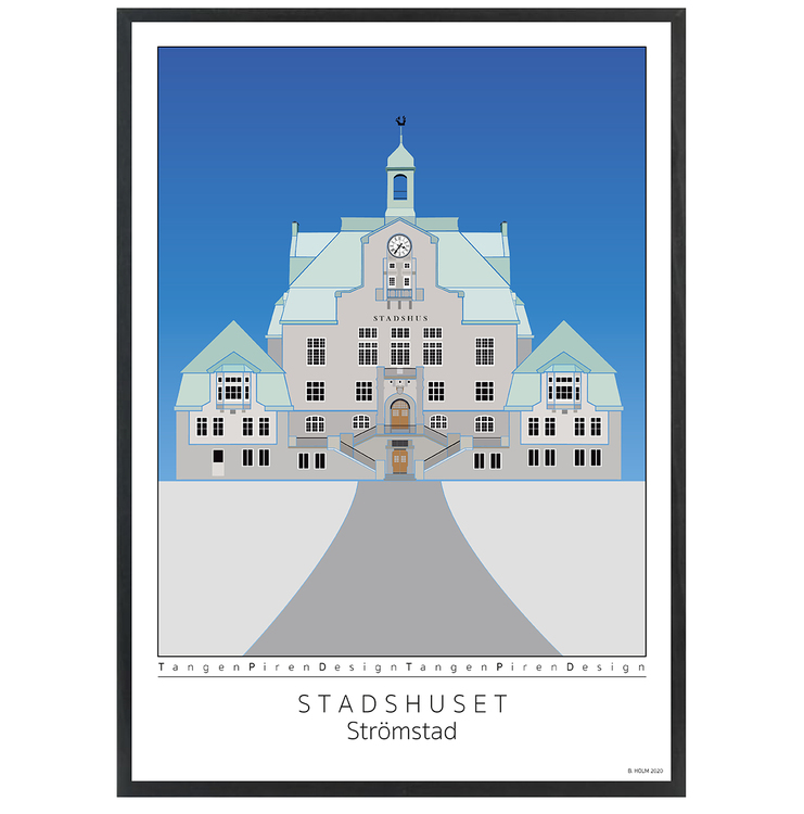 Poster Strömstads Stadshus med svart ram