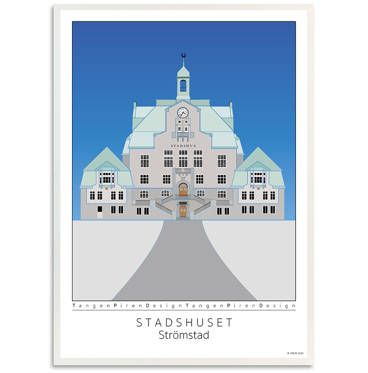 Poster Strömstads Stadshus med vit ram