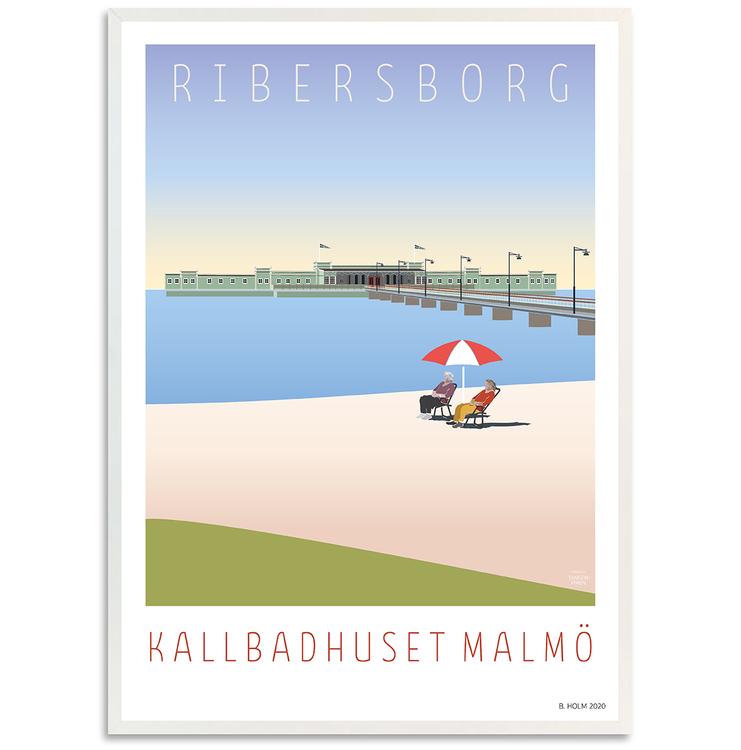 Poster Ribersborg med vit ram