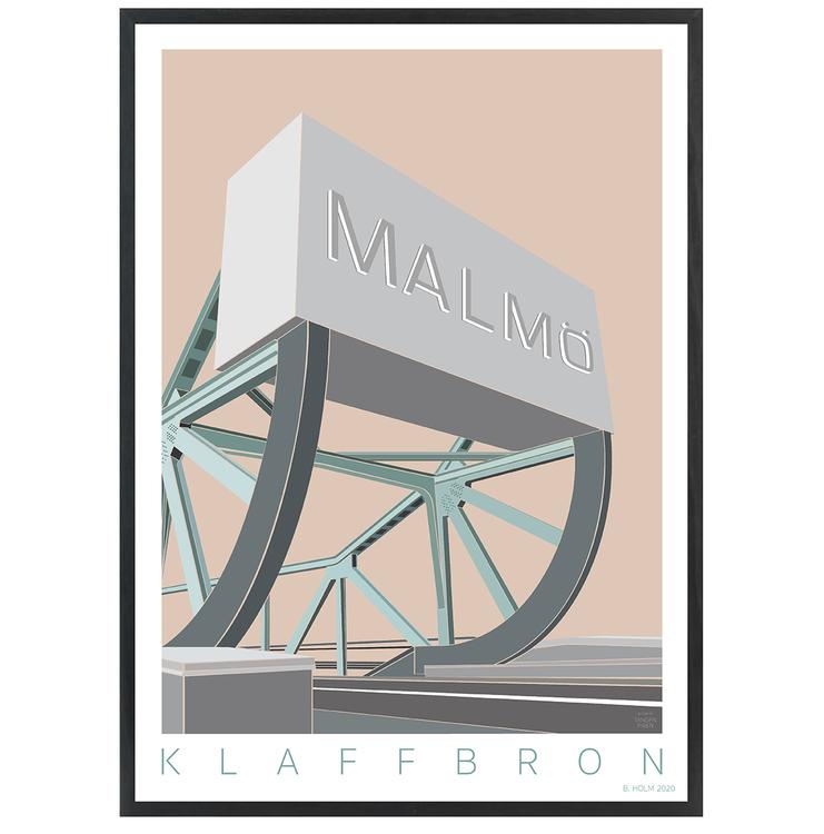 Poster Klaffbro Malmö med svart ram
