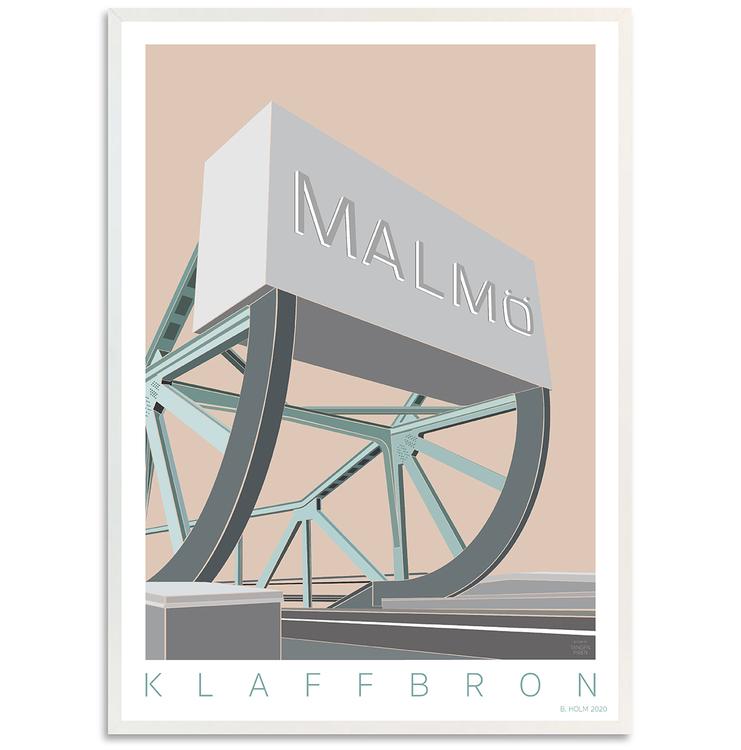 Poster Klaffbro Malmö med vit ram