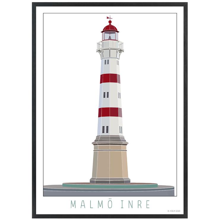 Poster Fyr Malmö Inre med svart ram
