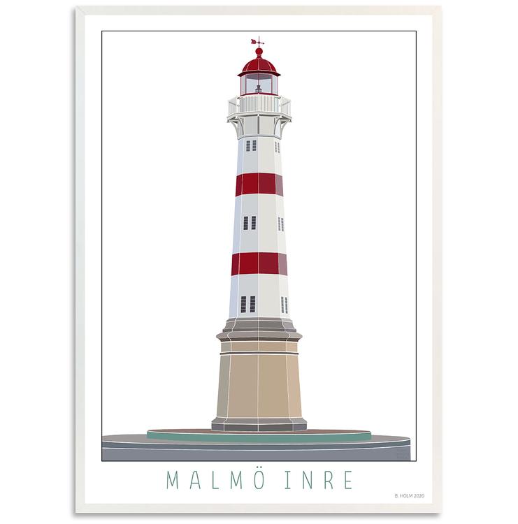 Poster Fyr Malmö Inre med vit ram