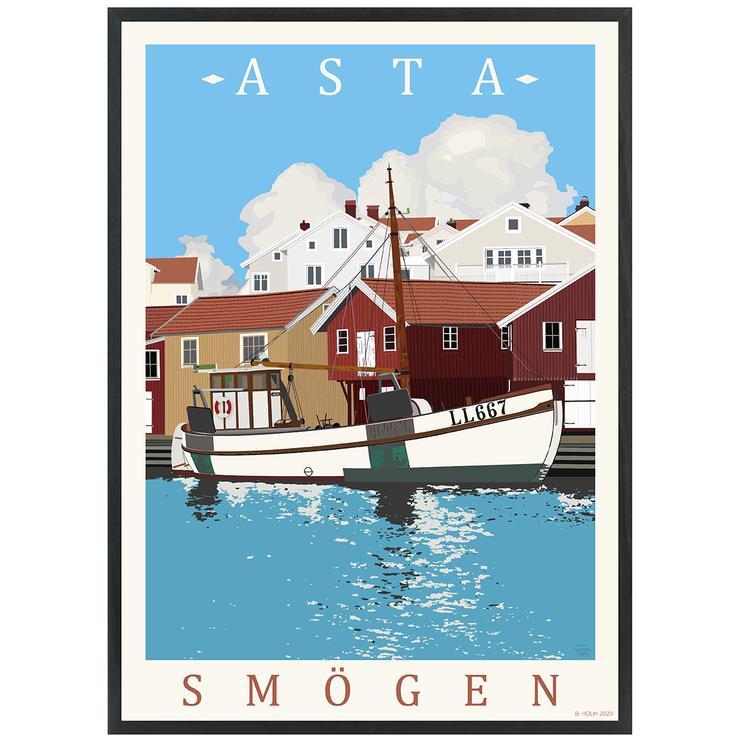 Poster Asta Smögen med svart ram