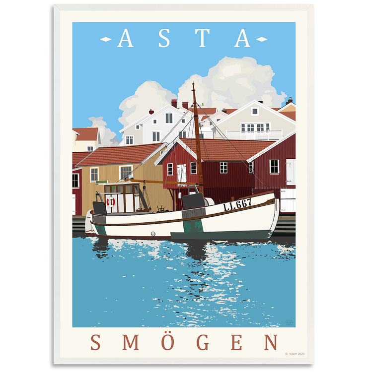Poster Asta Smögen med vit ram