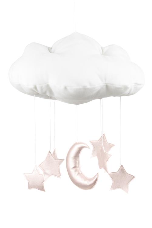 Mobil av vitt moln med rosastjärnor från Cotton & Sweet
