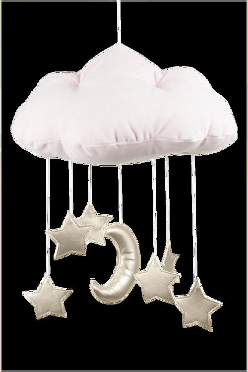 Mobil av rosa moln med guldstjärnor från Cotton & Sweet