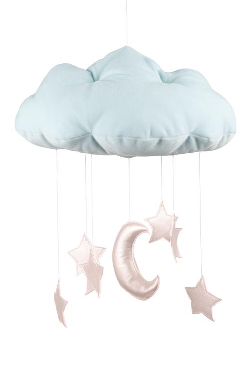 Mobil av blått moln med rosastjärnor