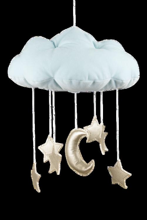 Mobil av blått moln med guldstjärnor