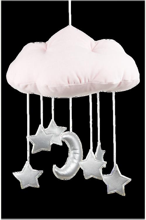 Mobil av rosa moln med silverstjärnor