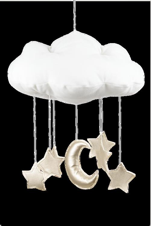 Mobil av vitt moln med guldstjärnor från Cotton & Sweet