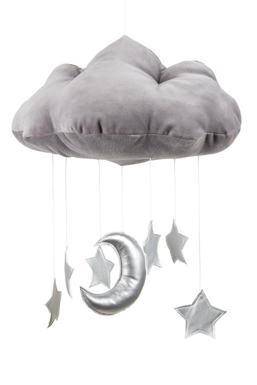 Mobil av grått moln med silverstjärnor