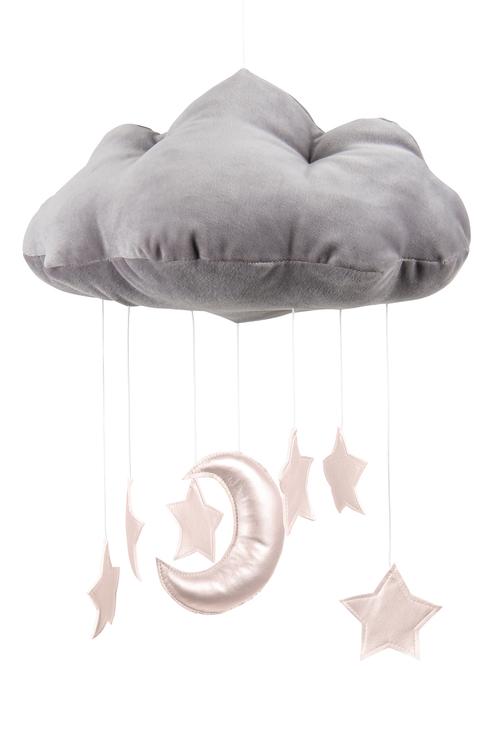 Mobil av grått moln med rosastjärnor