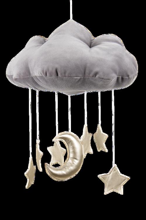 Mobil av grått moln med guldstjärnor