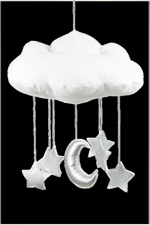 Mobil av vitt moln med silverstjärnor från Cotton & Sweet