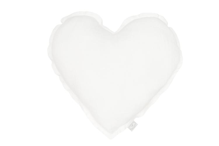 Hjärtformad kudde vitt