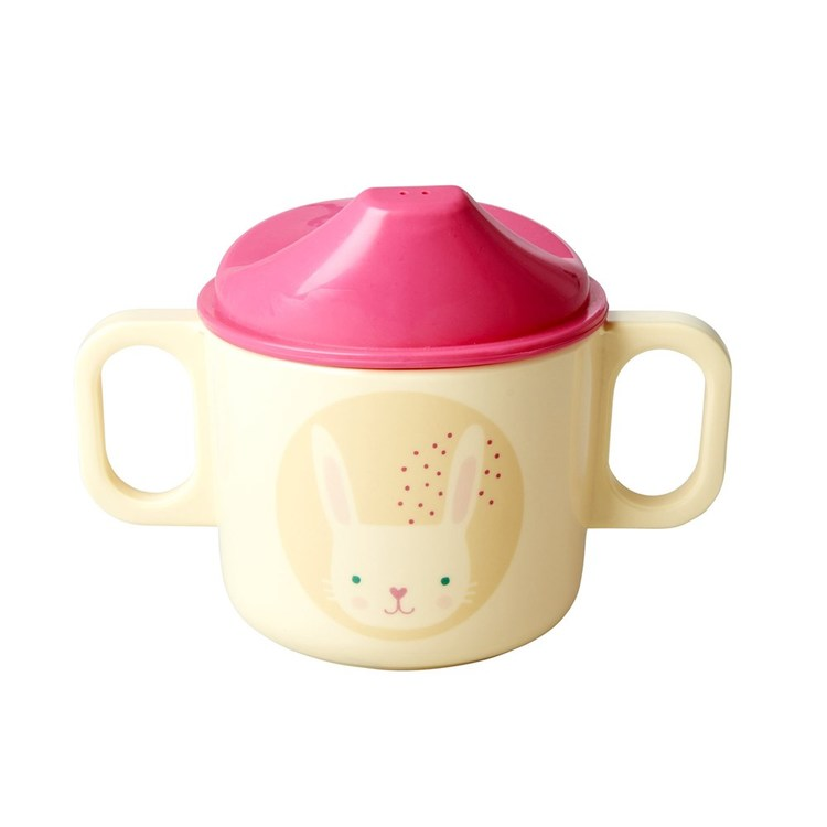 Rice Melamine baby 2 handle cup m pink bunny print