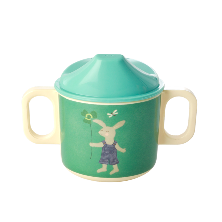Rice Melamine baby 2 handle cup m green bunny print