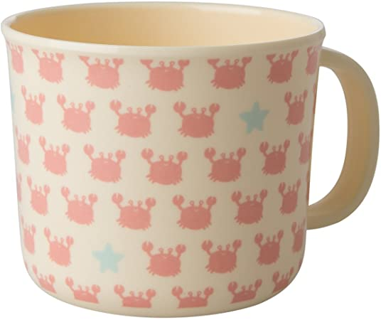 Rice Melamine baby cup with crabs and starfish print