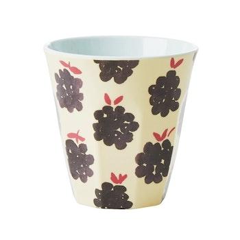 Rice Melamine cup/ glass w blackberry print small