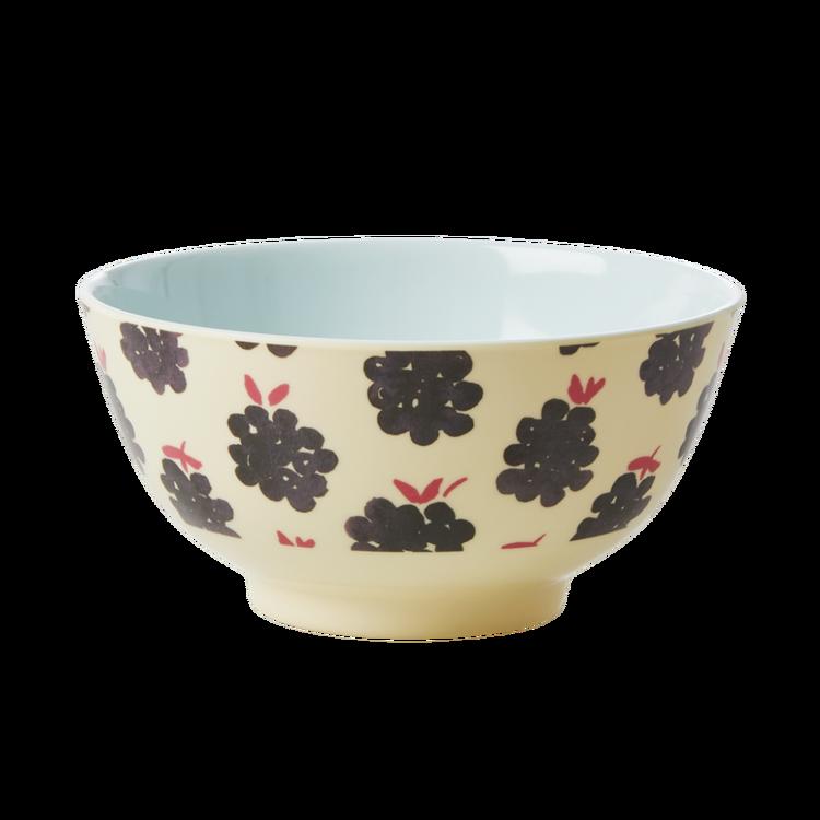Rice Melamine bowl w blackberry print small