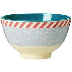 Rice Melamine bowl two tone with snowflake print-medium
