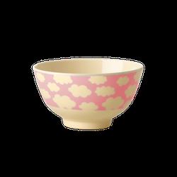Rice Kid deep bowl w cloud print pink