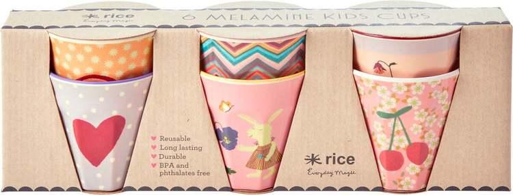 Rice Melamine kids cup 6 stk.